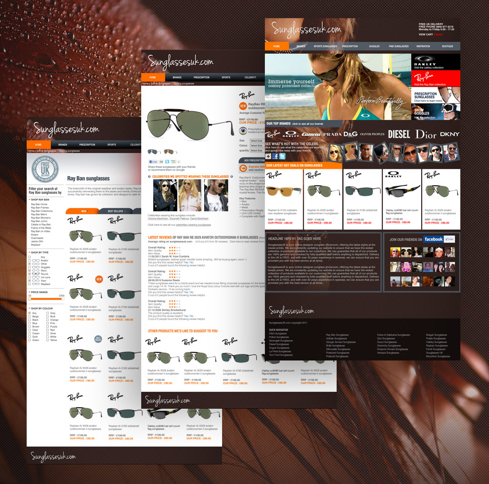 sunglasses UK website design, website marketing